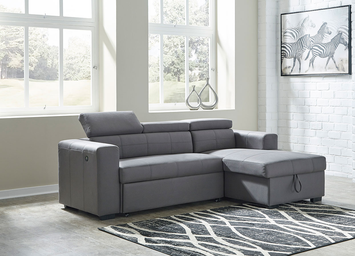 - Salado Gray Right Chaise Sofa W/ Pop-Up Bed Signature Design