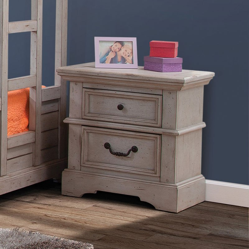 Stonebrook Youth Nightstand Antique Gray American Woodcrafters Furniture Cart