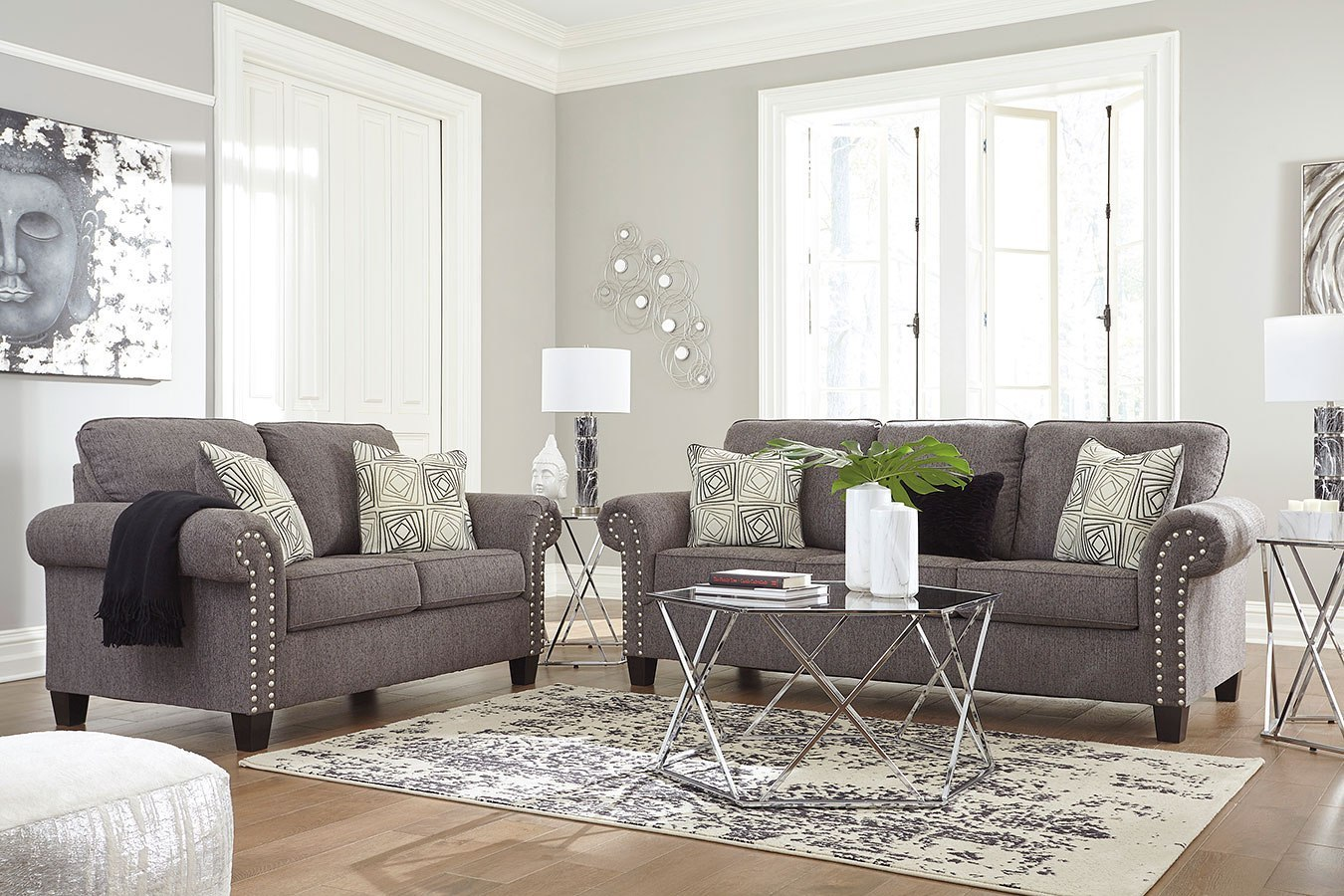 Agleno charcoal living room set benchcraft furniture cart for Charcoal living room furniture