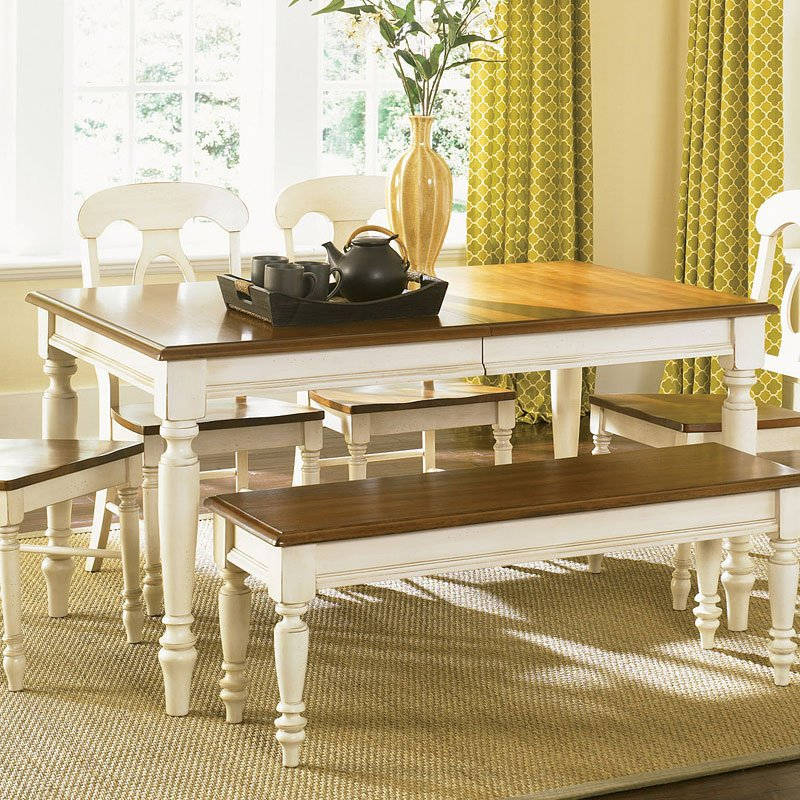Furniture Rectangle Kitchen Table With Bench Collection: Low Country Rectangular Dining Set (Sand) W/ Windsor