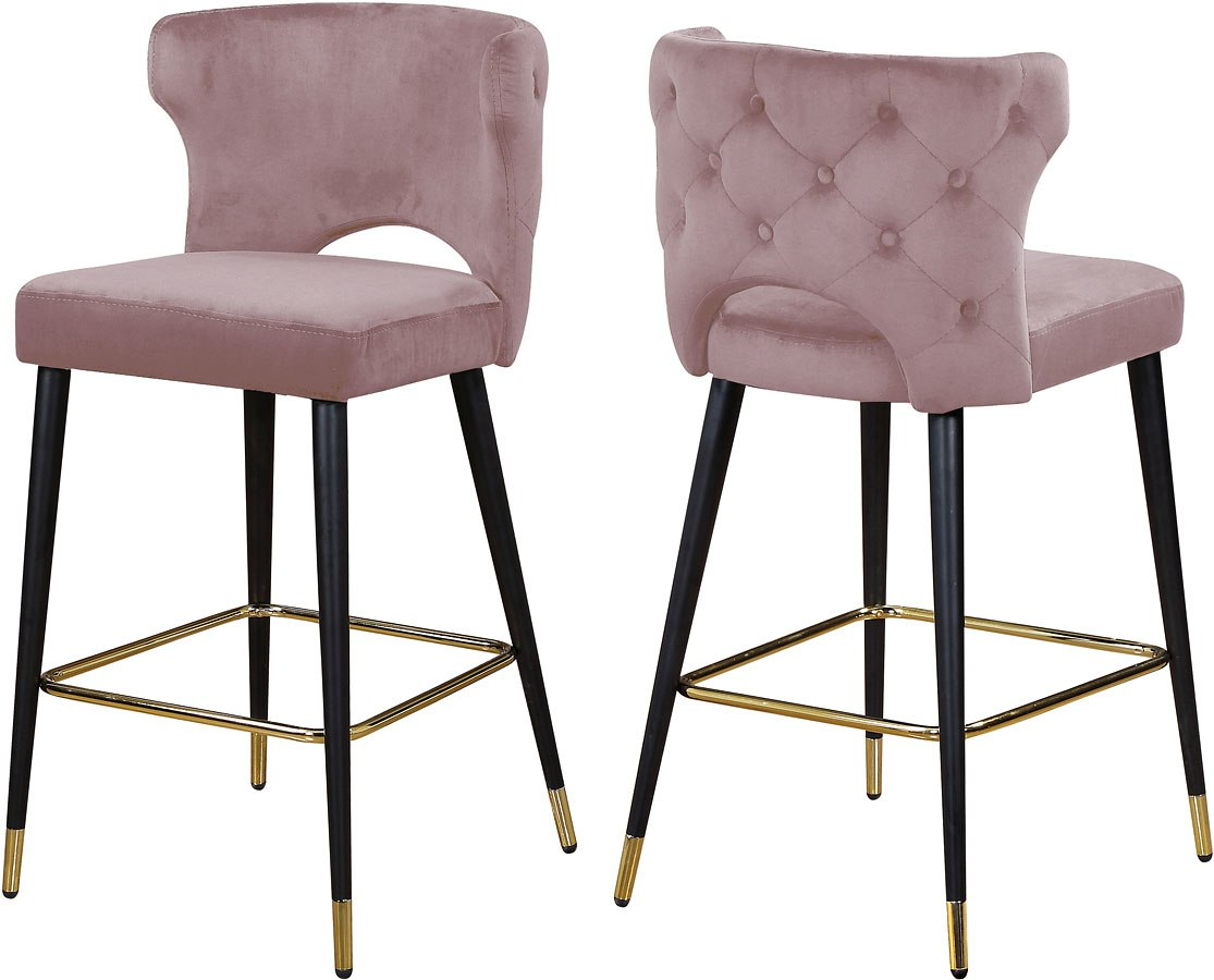 Kelly Bar/ Counter Height Stool Pink Set Of 2 Meridian ...