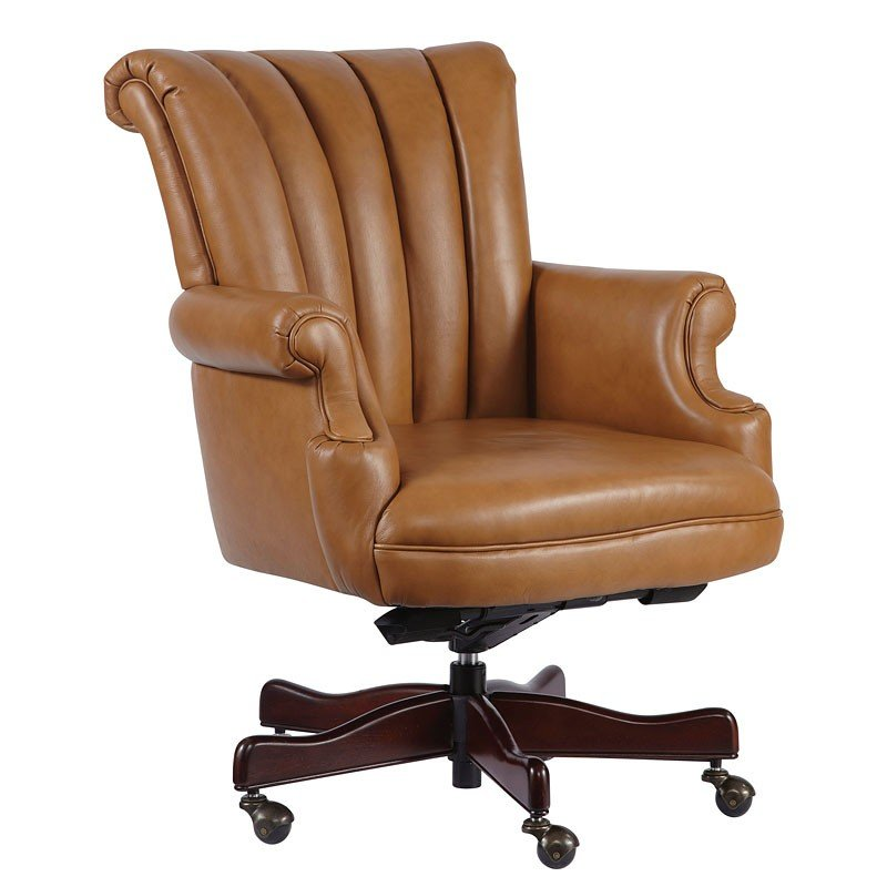 Leather Executive Chair W Channel Tufted Back Tan Hekman Furniture Cart