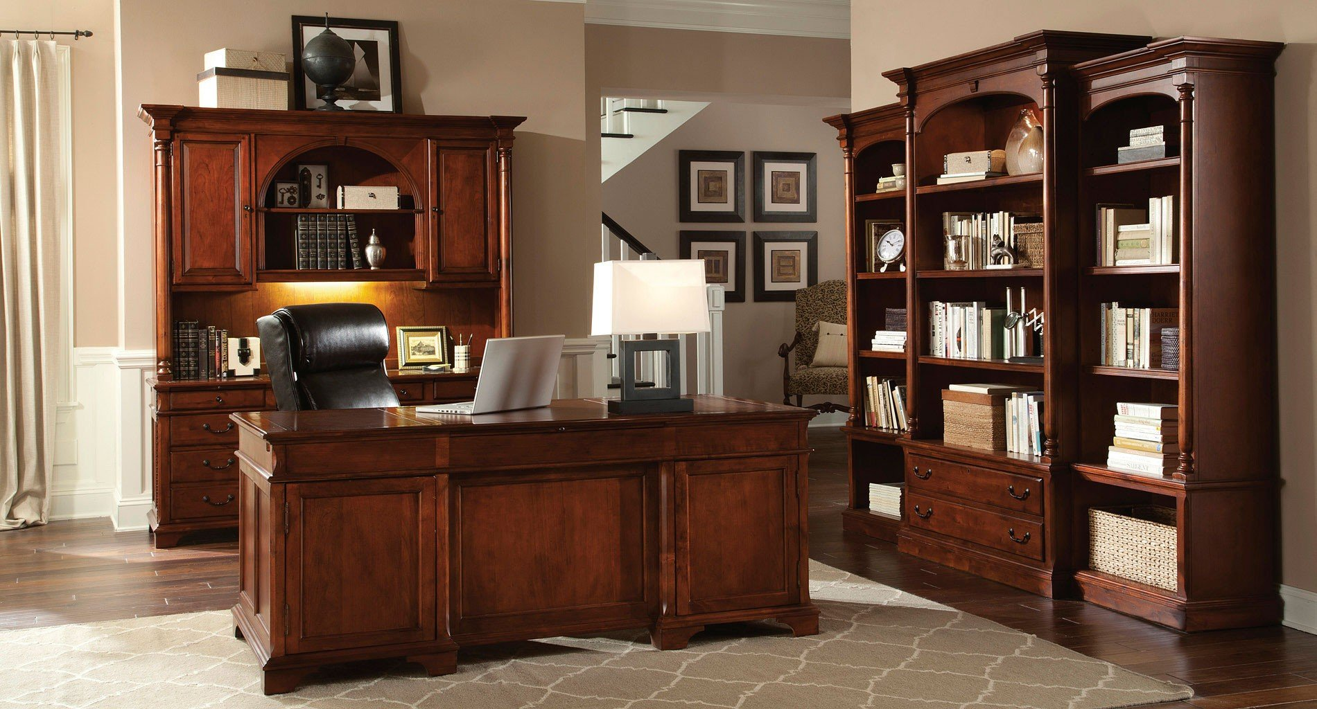 Weathered Cherry Executive Home Office Set Hekman ...