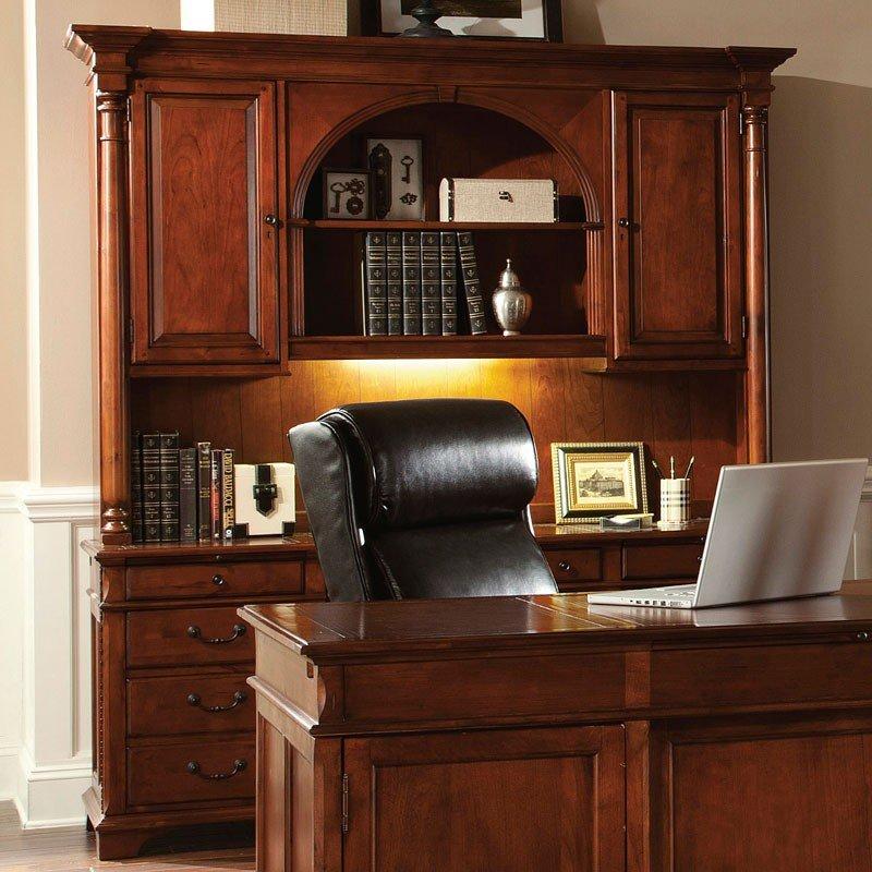 Warm Cherry Executive Desk Home Office Collection: Weathered Cherry Executive Home Office Set Hekman