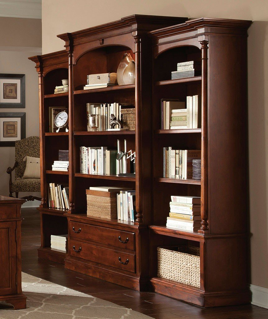Weathered Cherry Executive Bookcase Wall Hekman