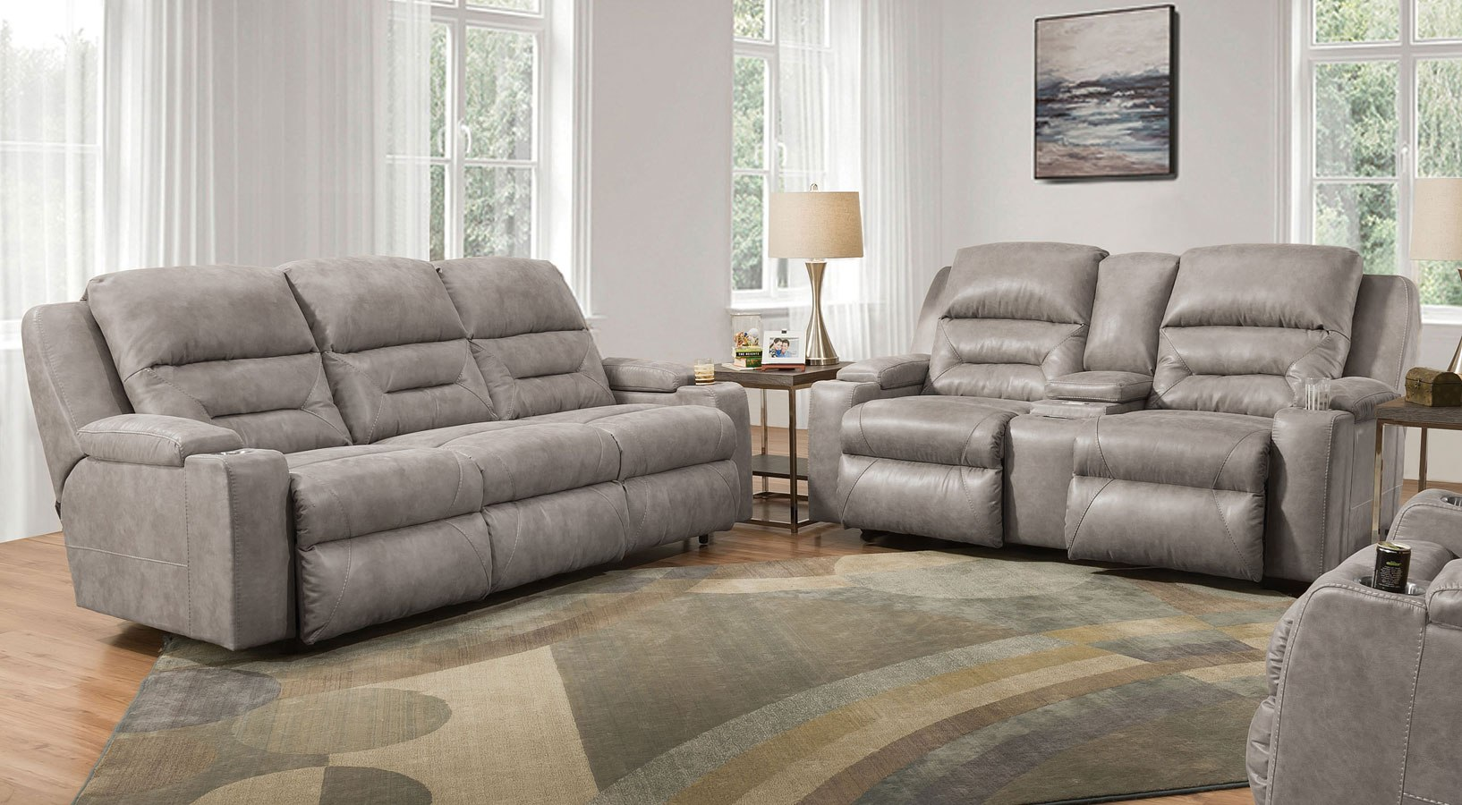 Beacon Power Lumbar Reclining Living Room Set Corral Stone
