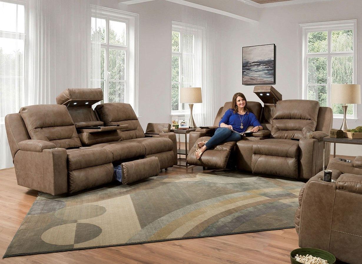 Beacon Power Lumbar Reclining Living Room Set Corral Mink