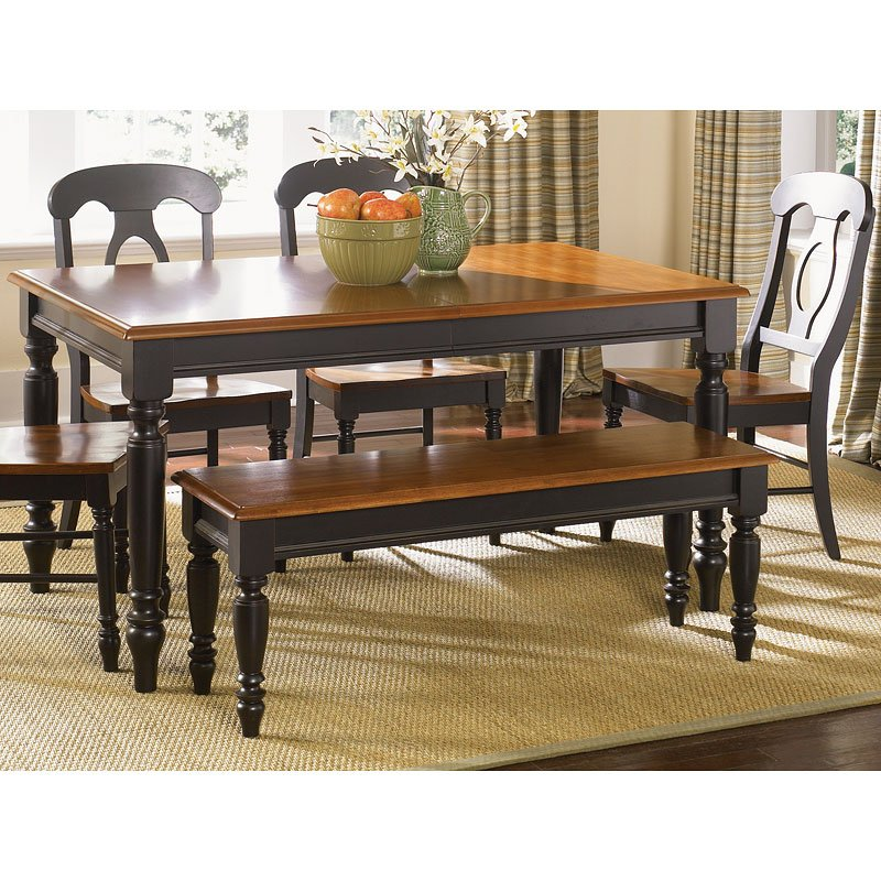 Low Country Rectangular Dining Set (Black) W/ Napoleon Chairs
