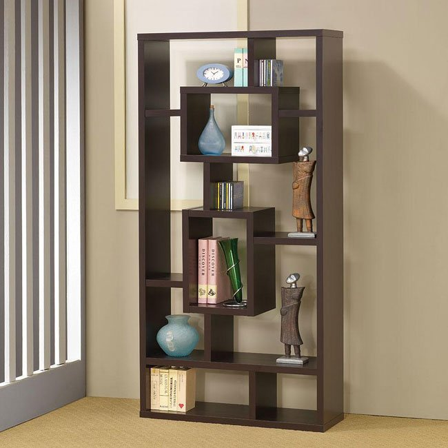 Cappuccino Bookshelf w/ Rectangular Shelves