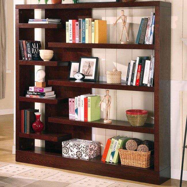 Contemporary Asymmetrical Bookcase Coaster Furniture