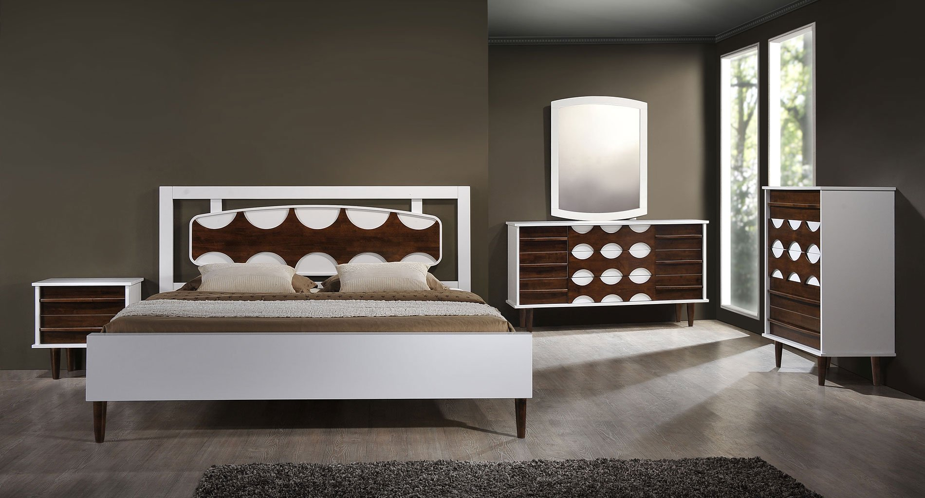 Seattle Panel Bedroom Set (Walnut And White) Zuo Modern | Furniture Cart