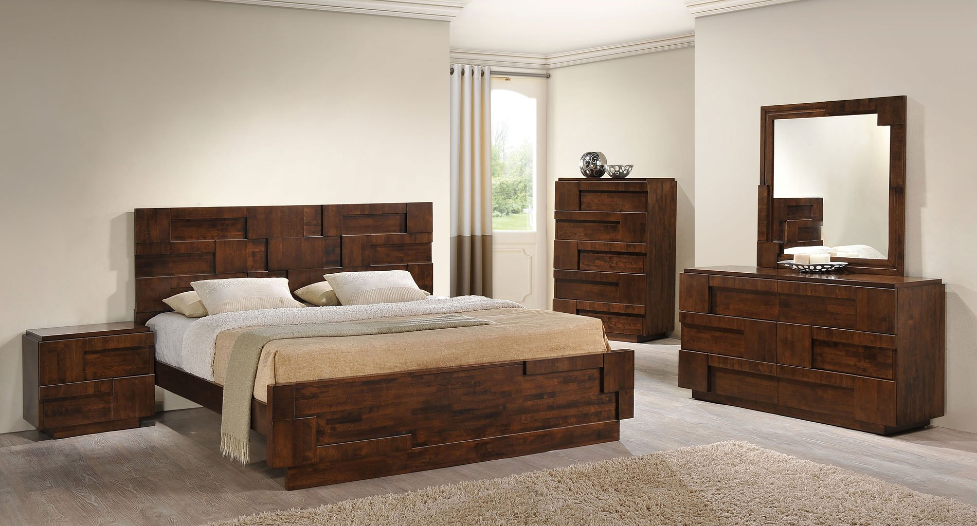 san diego panel bedroom set walnut zuo modern 14964 | 800302 br set 1