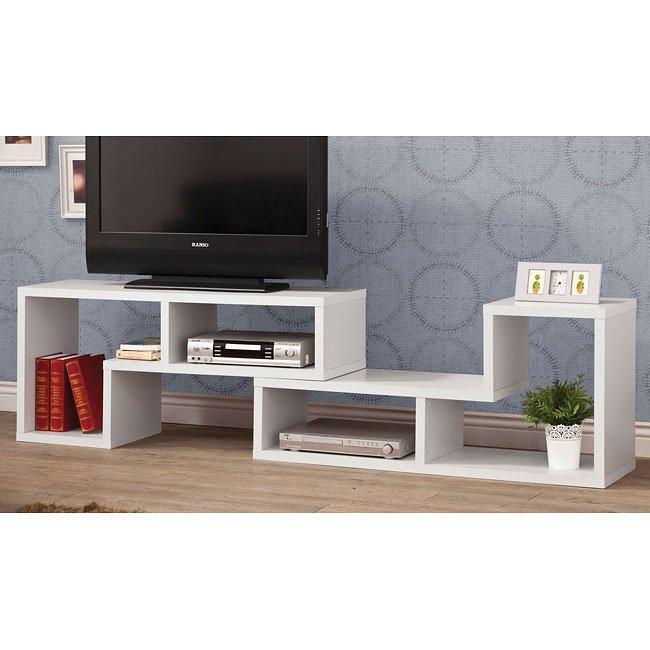 Convertible White TV Console/ Bookcase Combination