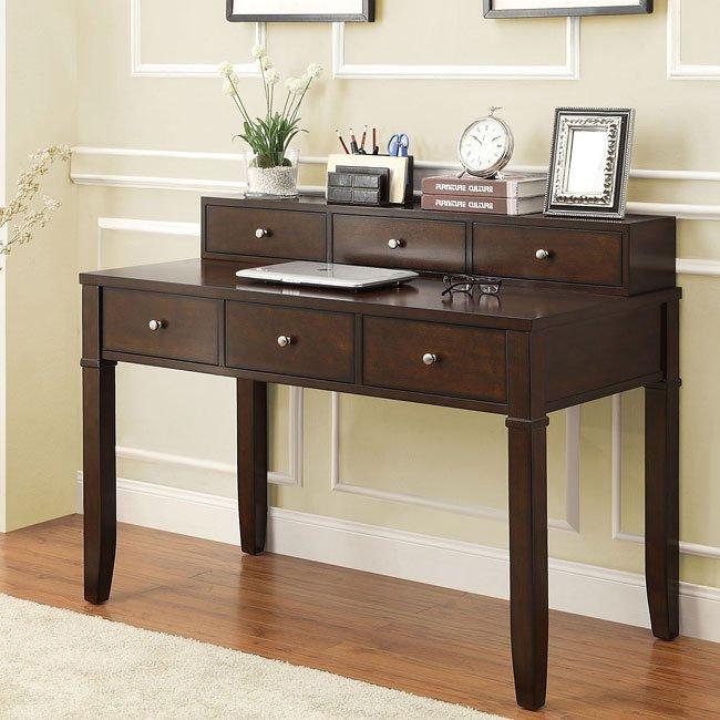 Walnut Brown Writing Desk w/ Drawers