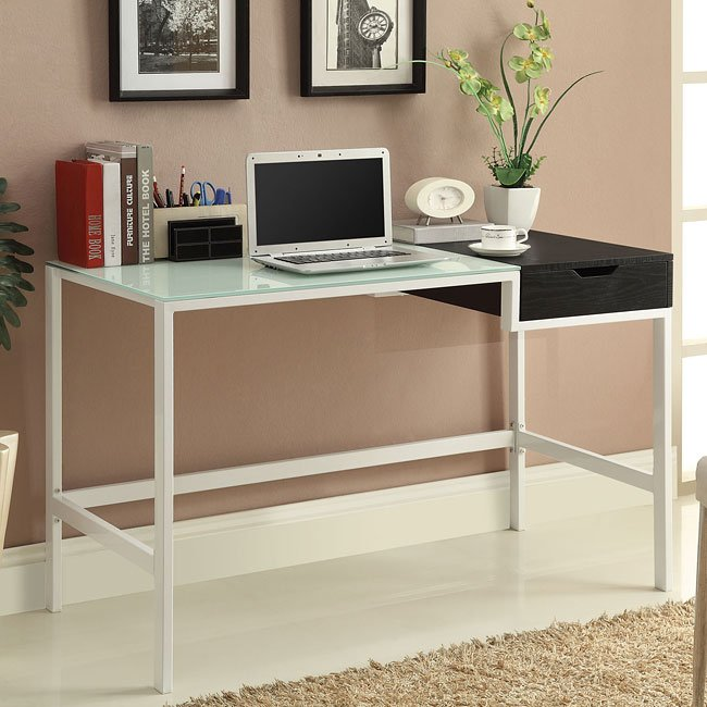 Frosted Glass Computer Desk w/ Storage
