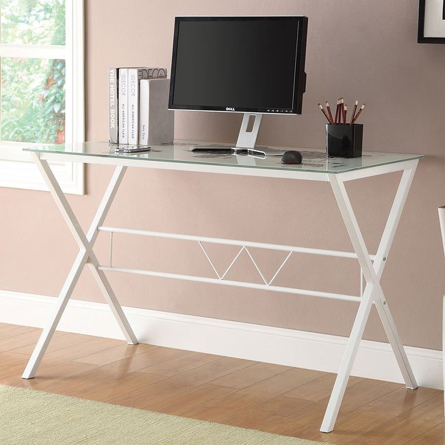 White Metal Desk w/ World Map Top