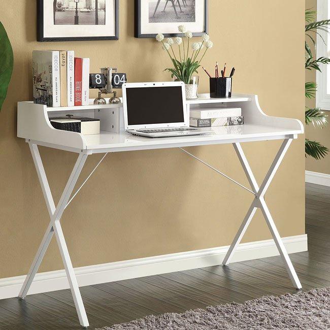 White High Gloss Desk w/ Raised Shelf