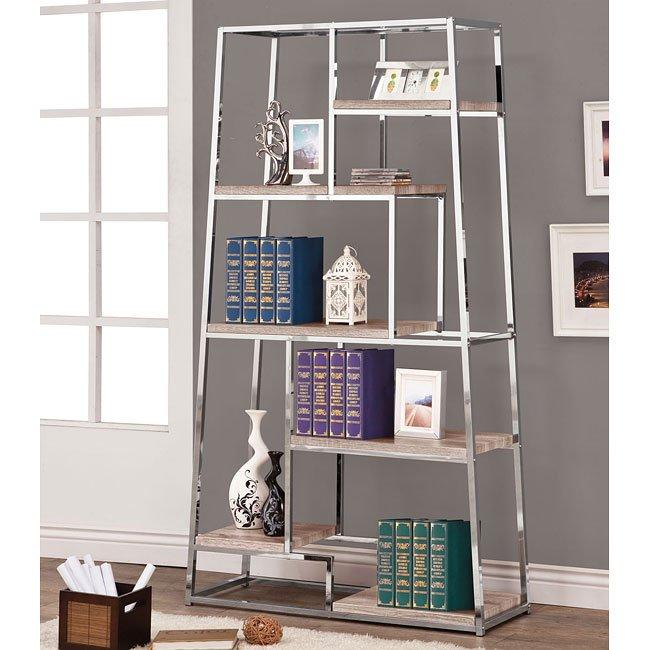 Tapered Shape Bookshelf w/ Reclaimed Wood Look