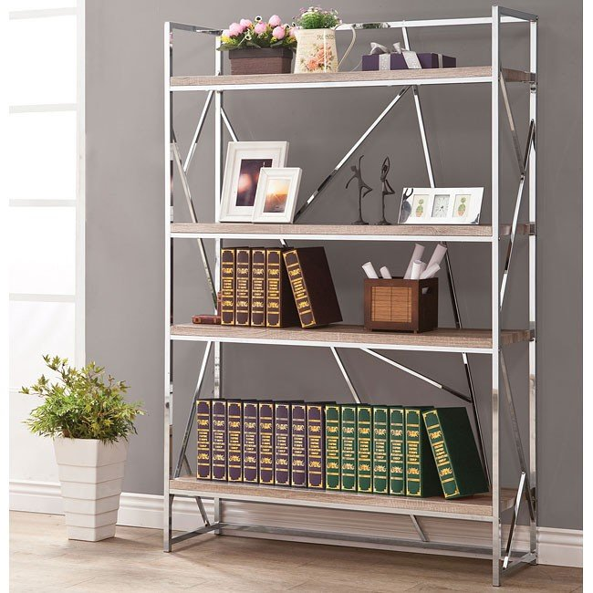 Chrome Bookshelf w/ Reclaimed Wood Look