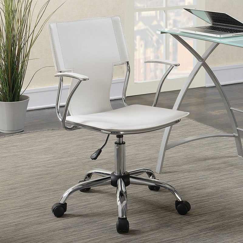 white leatherette office chair w chrome frame coaster furniture