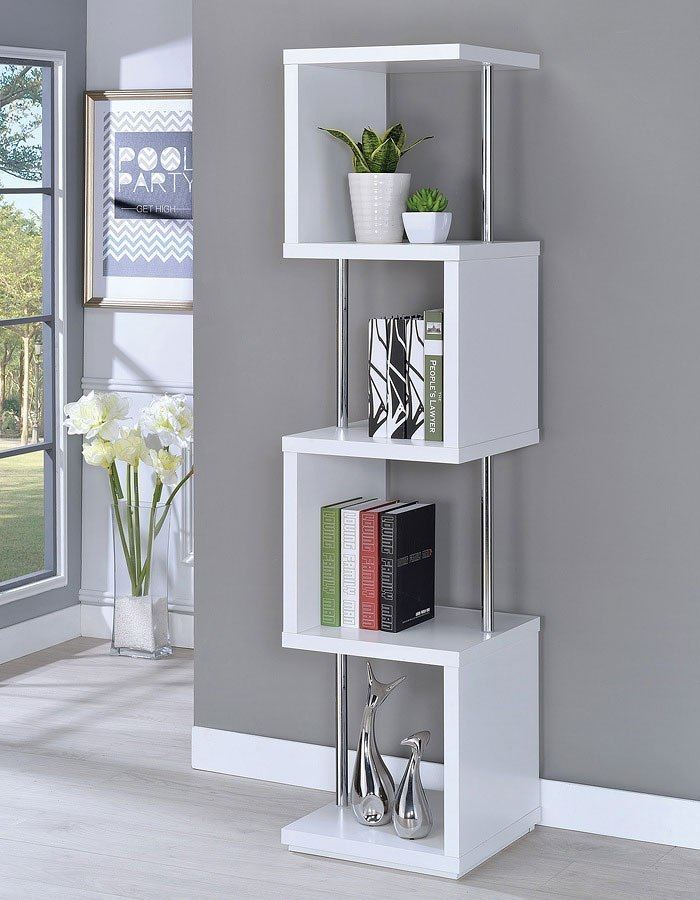 White Four Tier Bookcase Coaster Furniture