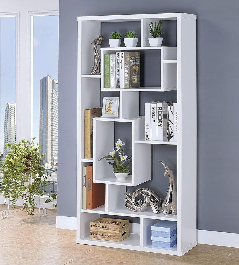 White Ten Shelf Bookcase Coaster Furniture