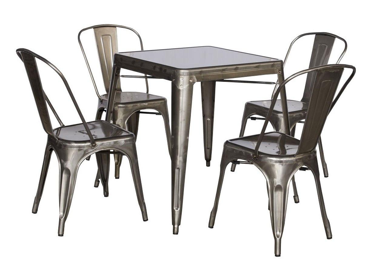 Alfresco Galvanized Steel Dining Room Set (Gun Metal