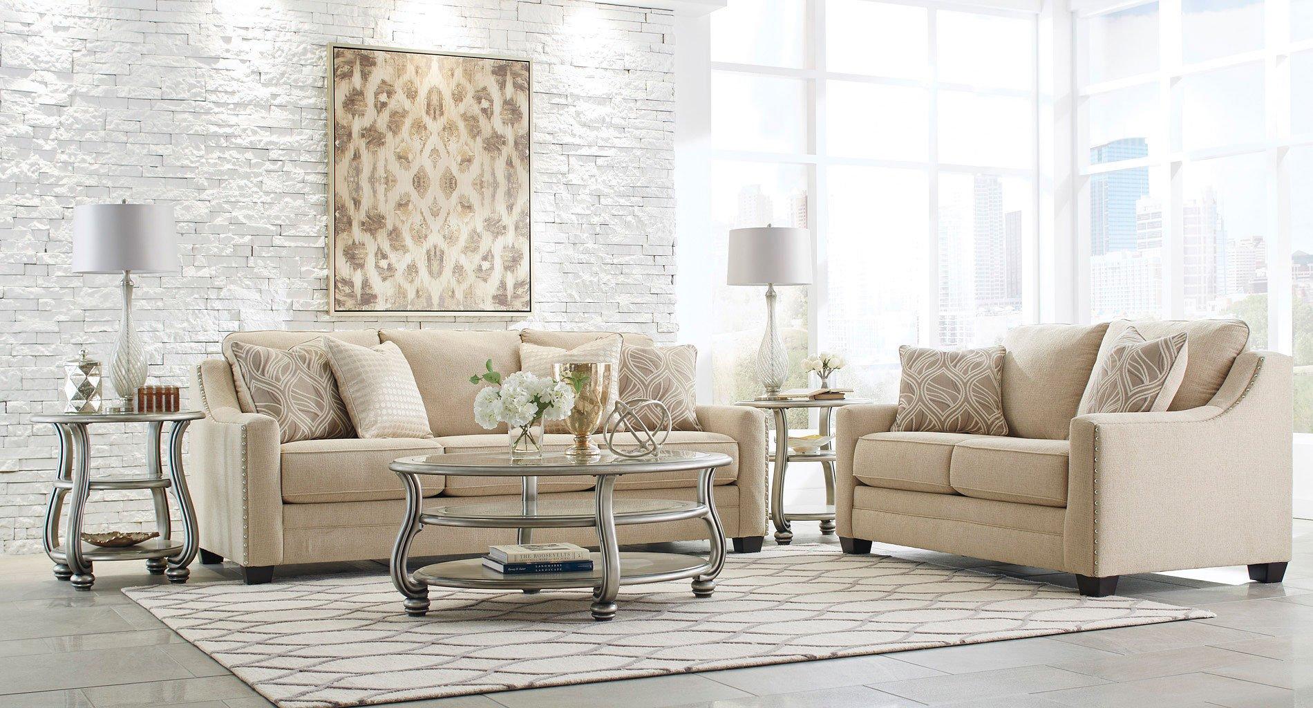 Mauricio Linen Living Room Set BenchCraft | Furniture Cart