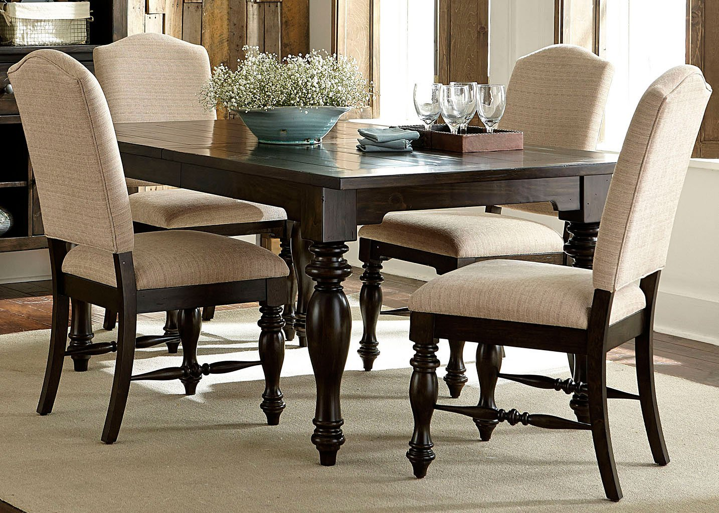 Awesome Southern Pines I Dining Room Set W Upholstered Chairs Download Free Architecture Designs Scobabritishbridgeorg