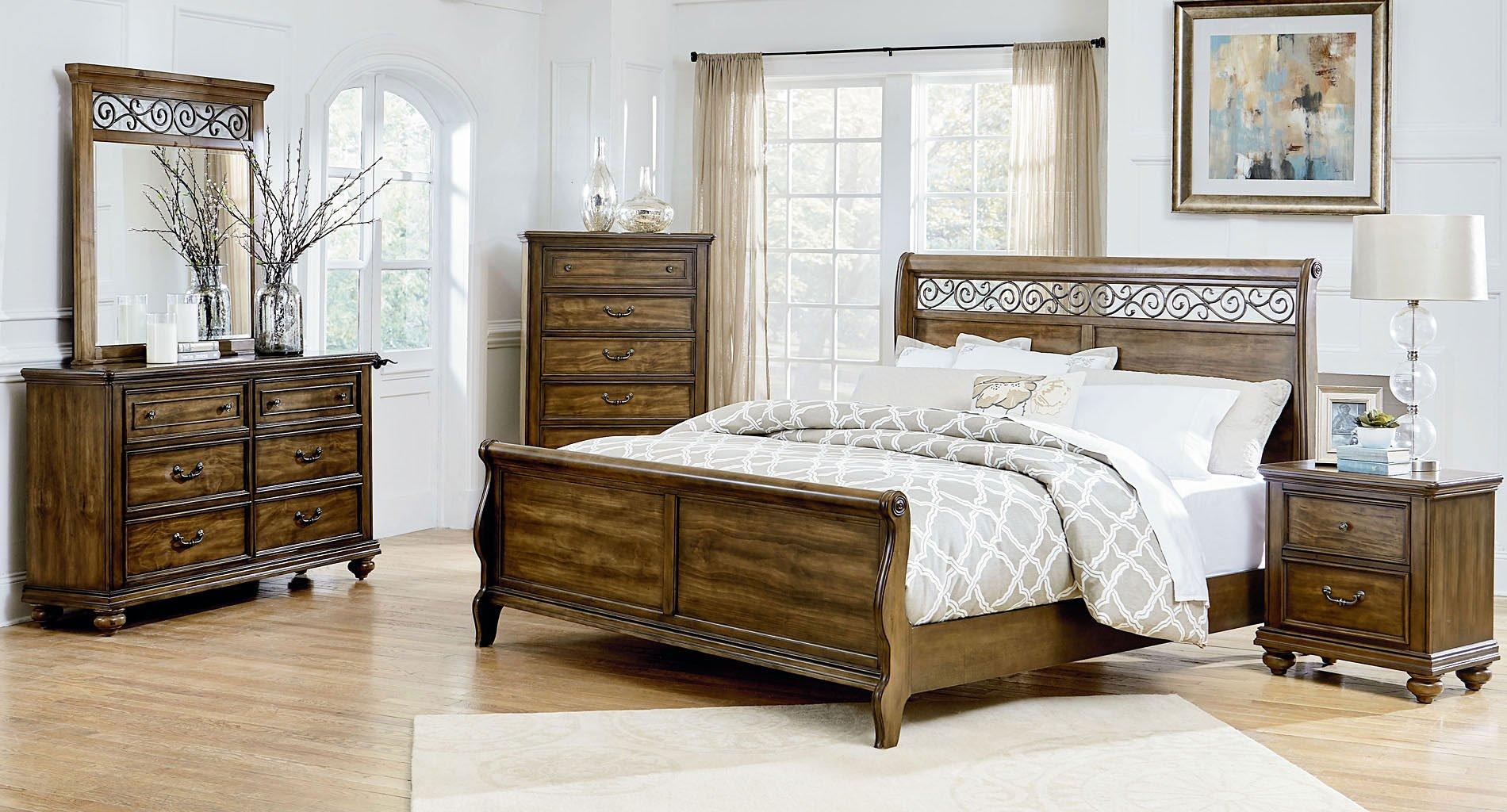 monterey sleigh bedroom set standard furniture furniture cart. Black Bedroom Furniture Sets. Home Design Ideas
