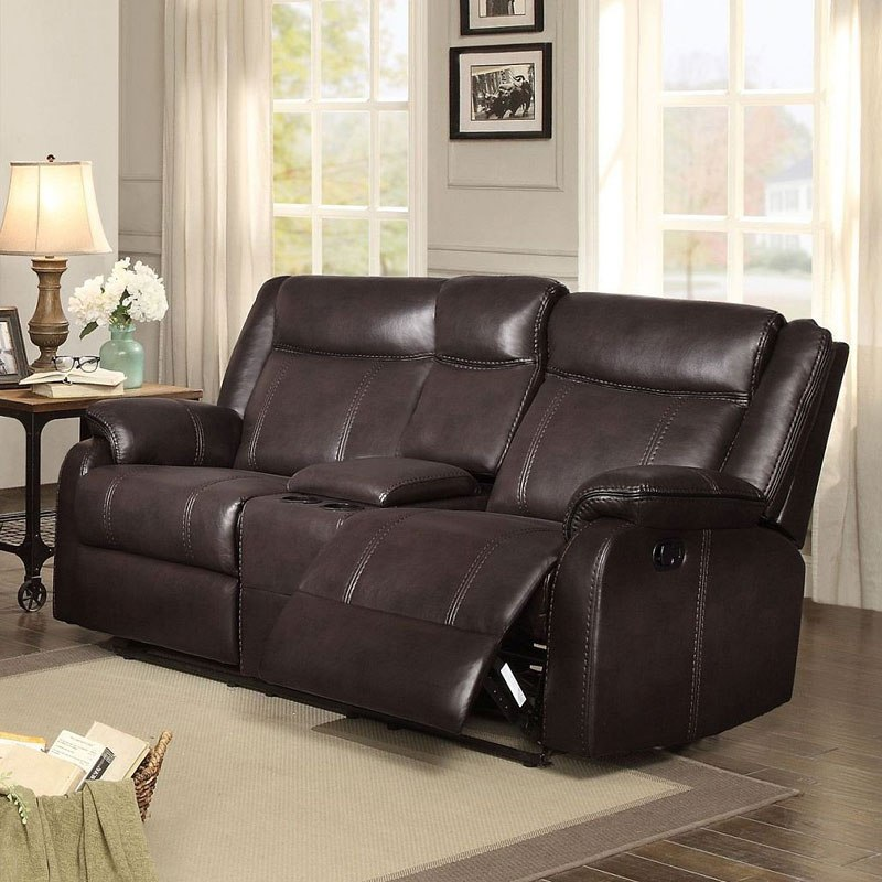 Jude Reclining Loveseat w/ Console (Brown)
