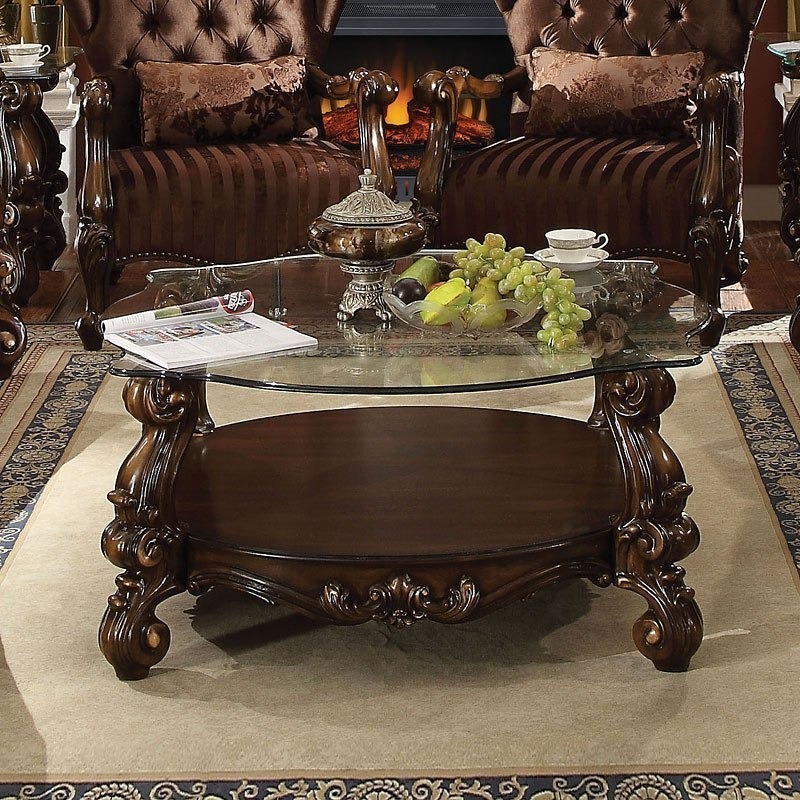 Versailles Gl Top Coffee Table Cherry Oak