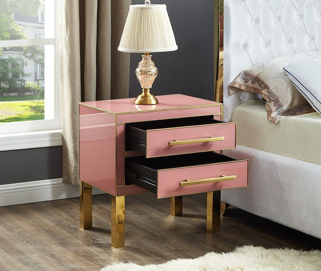 Ashley Furniture Meridian Idaho: Gigi Side Table (Pink/ Gold) Meridian Furniture
