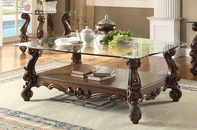 Versailles Glass Top Rectangular Coffee Table (Cherry Oak)