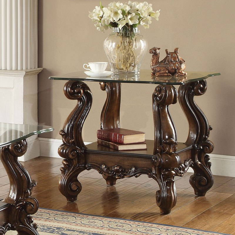 Versailles Glass Top End Table (Cherry Oak)
