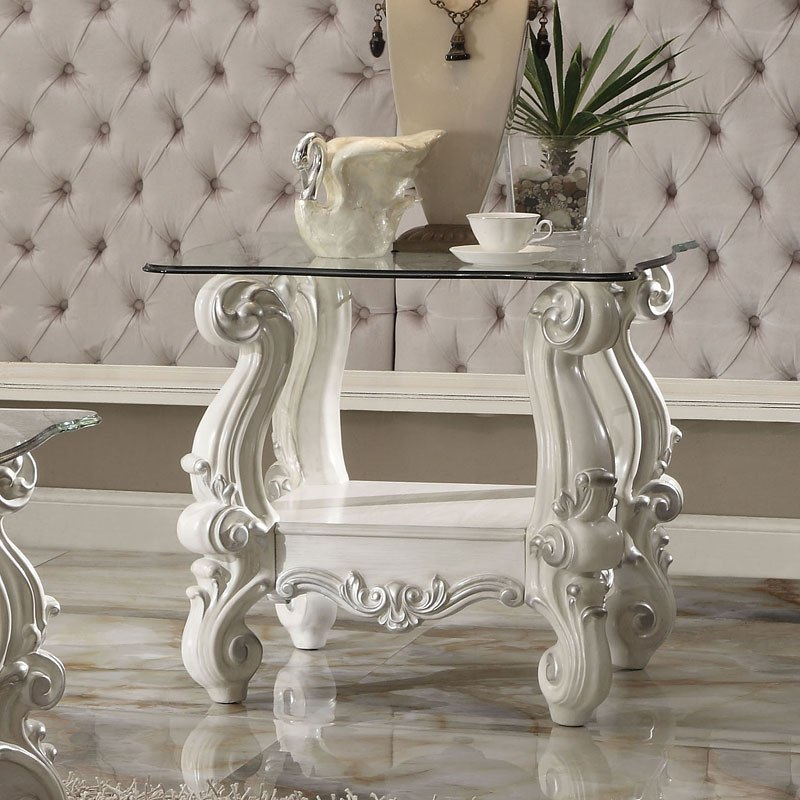 Versailles Glass Top End Table (Bone White) By Acme Furniture