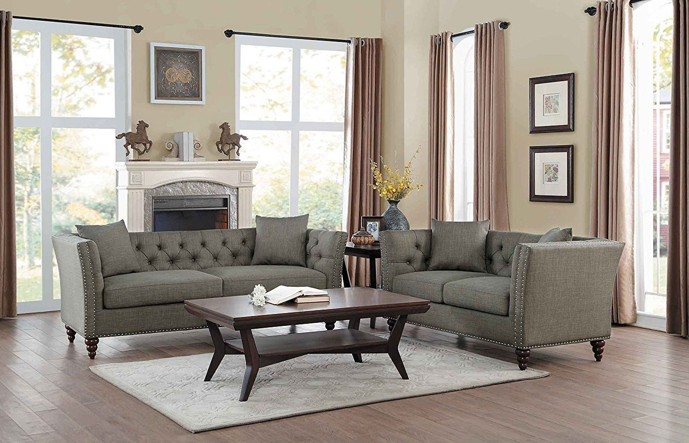 Marceau Living Room Set Dark Gray Homelegance