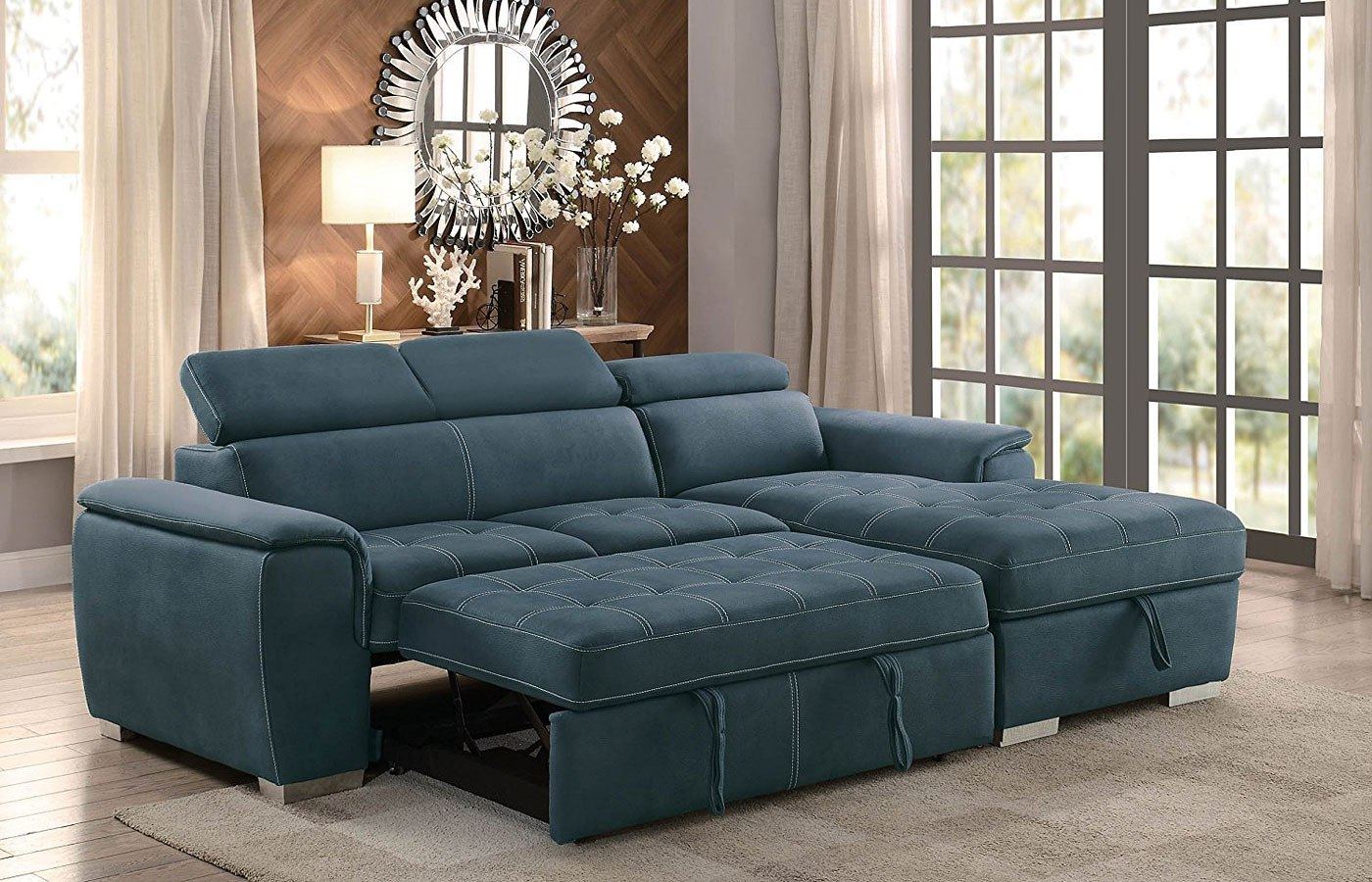 Ferriday Sectional W/ Pull Out Bed Blue Homelegance ...