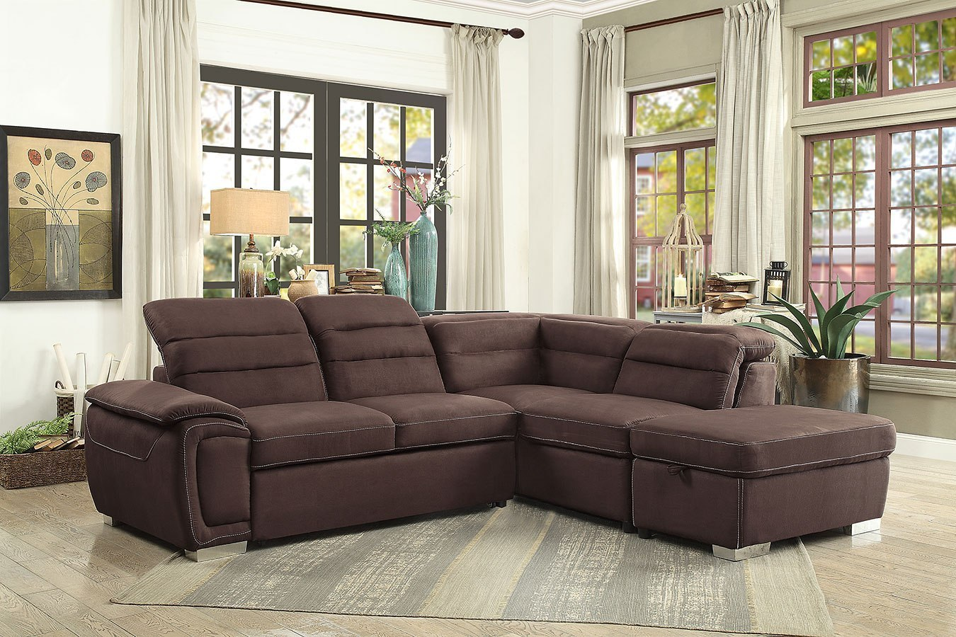 Picture of: Platina Sectional W Pull Out Bed And Storage Ottoman Homelegance Furniture Cart
