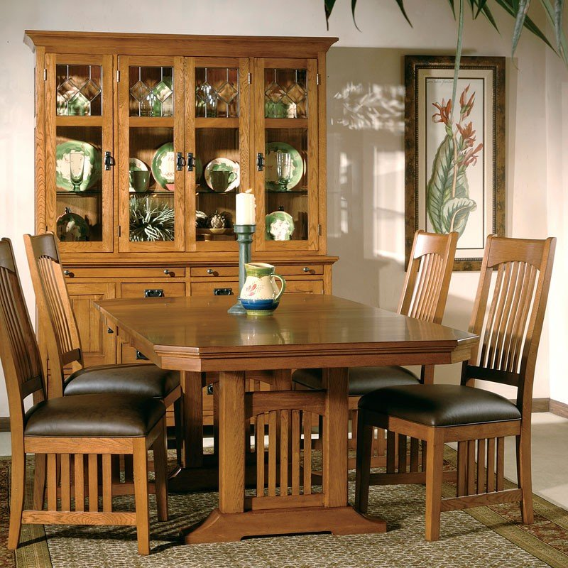 arts and crafts trestle dining room set w leather chairs hekman furniture cart. Black Bedroom Furniture Sets. Home Design Ideas