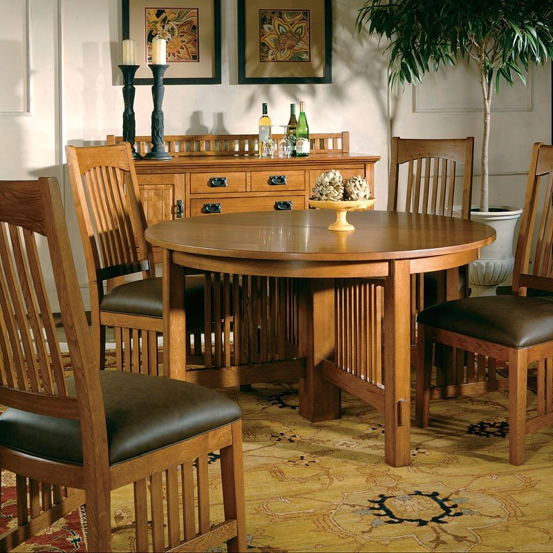 Arts And Crafts Reunion Dining Room Set W/ Leather Chairs