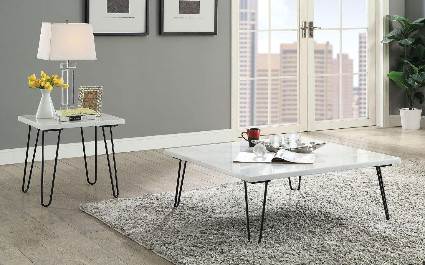 Telestis Square Occasional Table Set (White Marble/ Black)