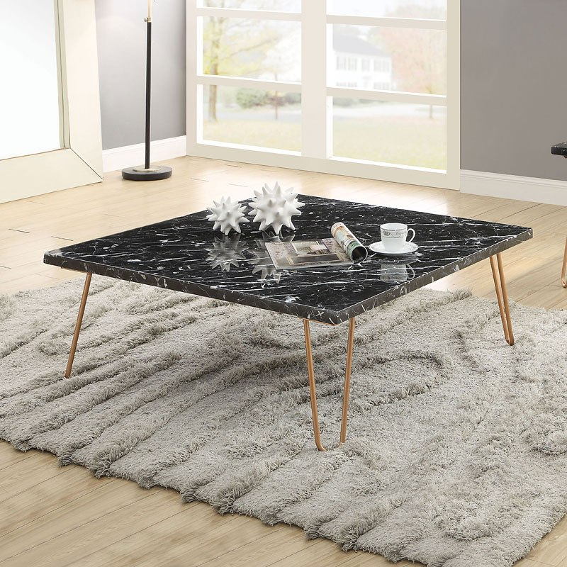 Telestis Square Coffee Table Black Marble Gold