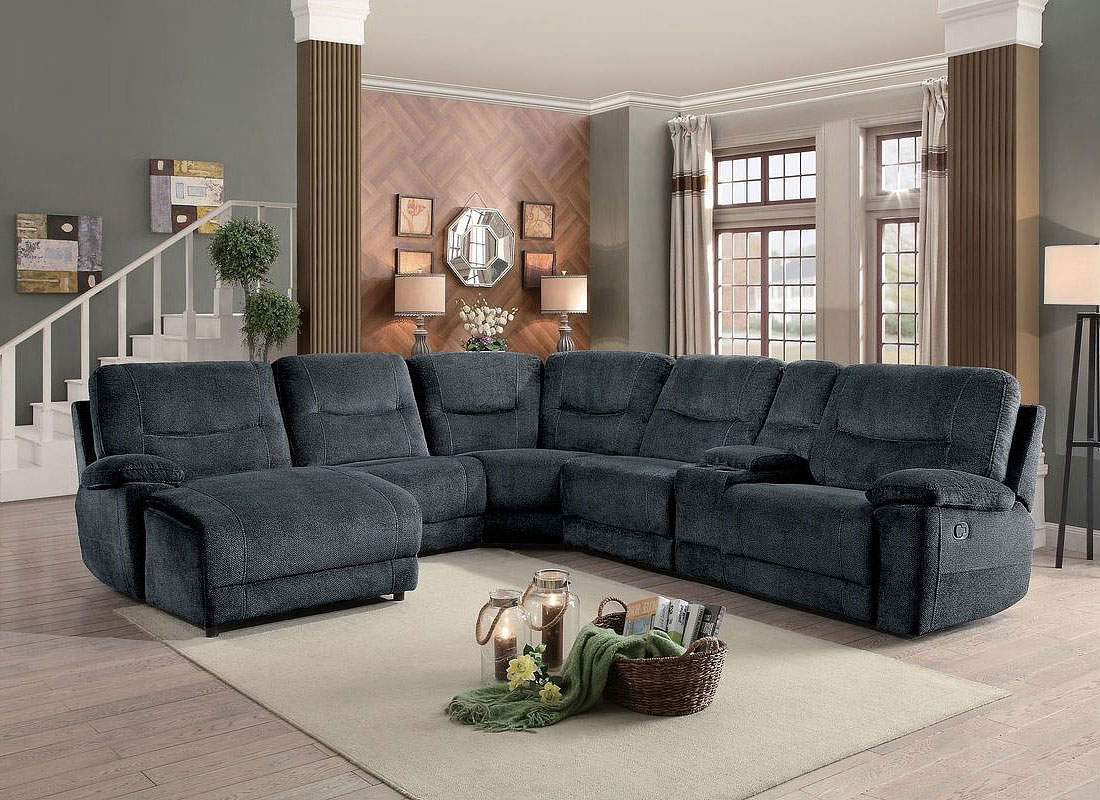 Columbus Modular Reclining Sectional W Chaise Cobblestone