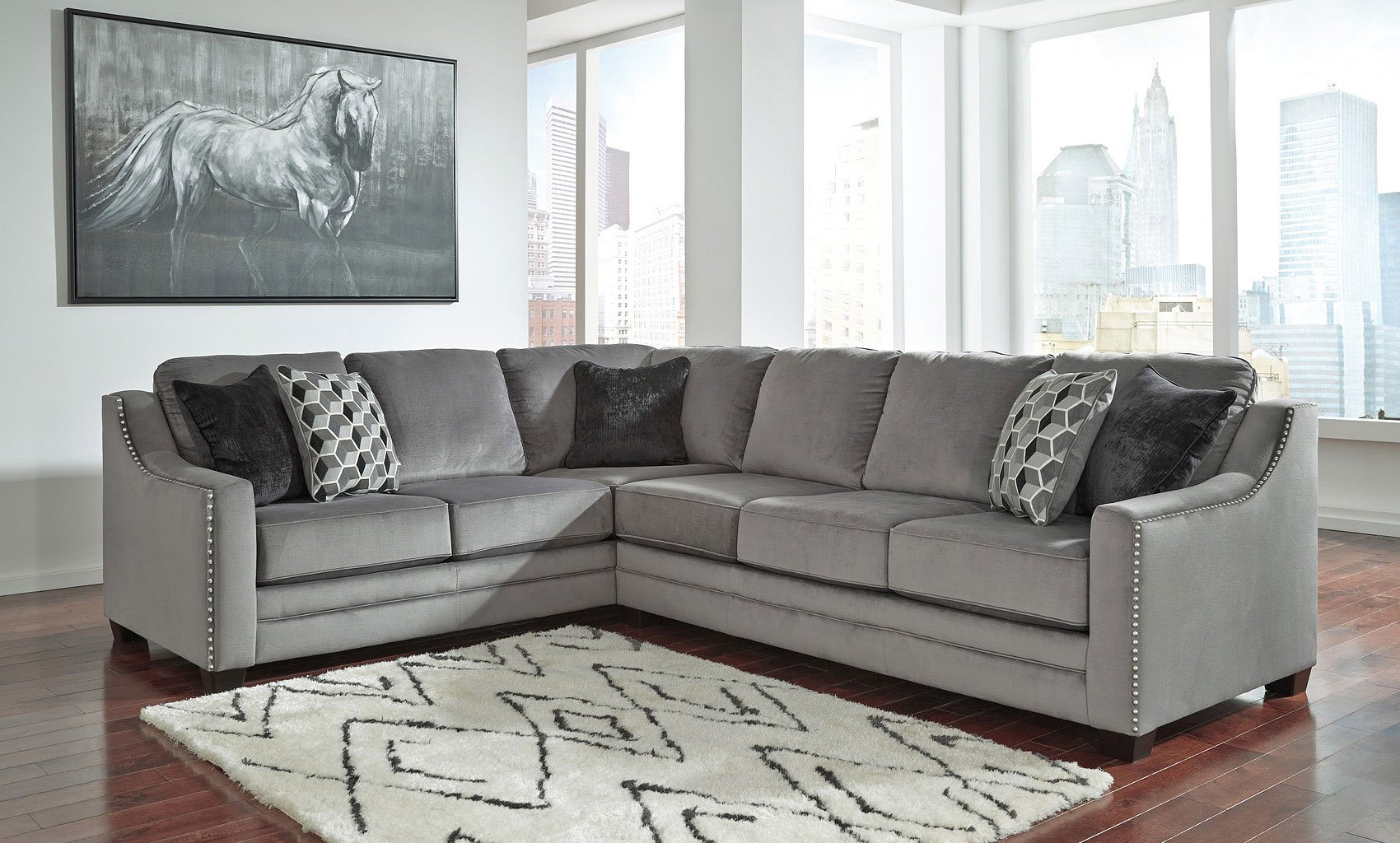 Bicknell Charcoal Right Sofa Sectional Benchcraft Furniture Cart