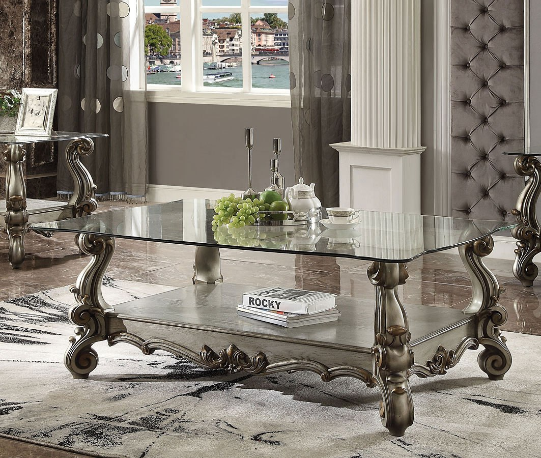 Versailles Square Coffee Table: Versailles Glass Top Coffee Table Acme Furniture