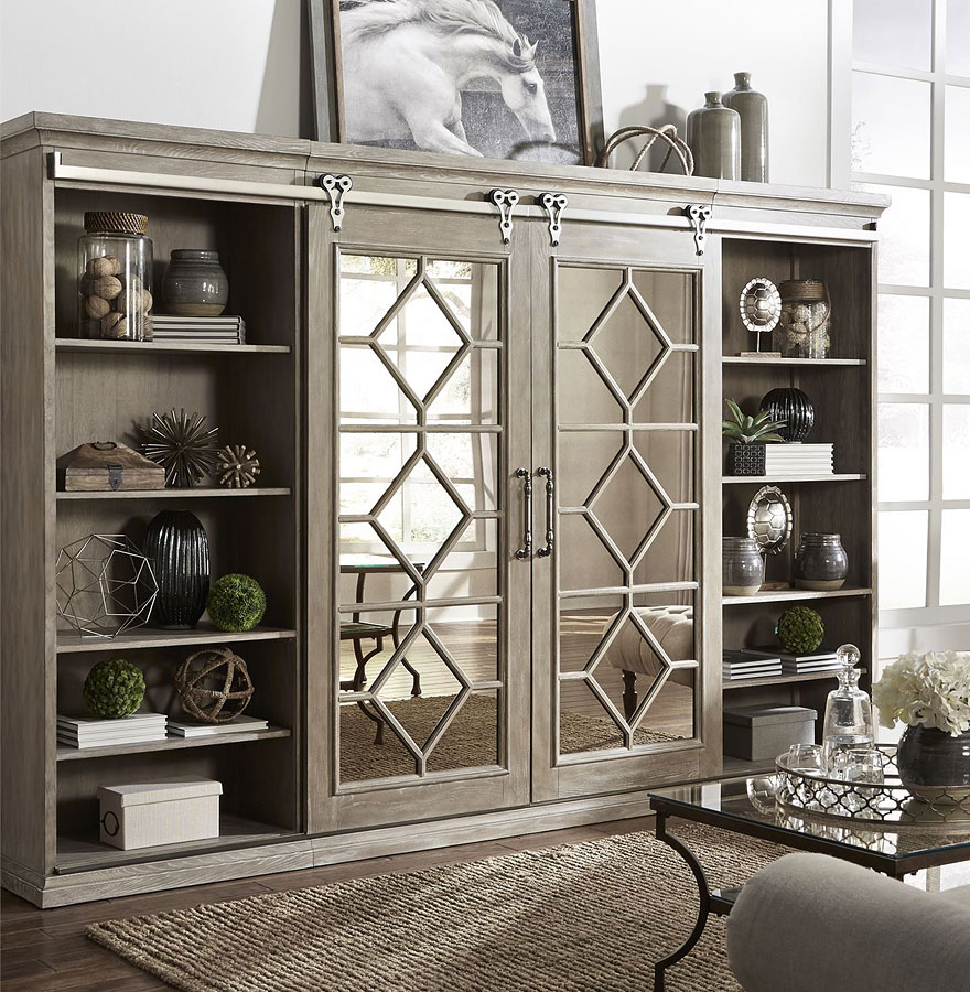 Mirrored Reflections Entertainment Center W/ Piers Liberty