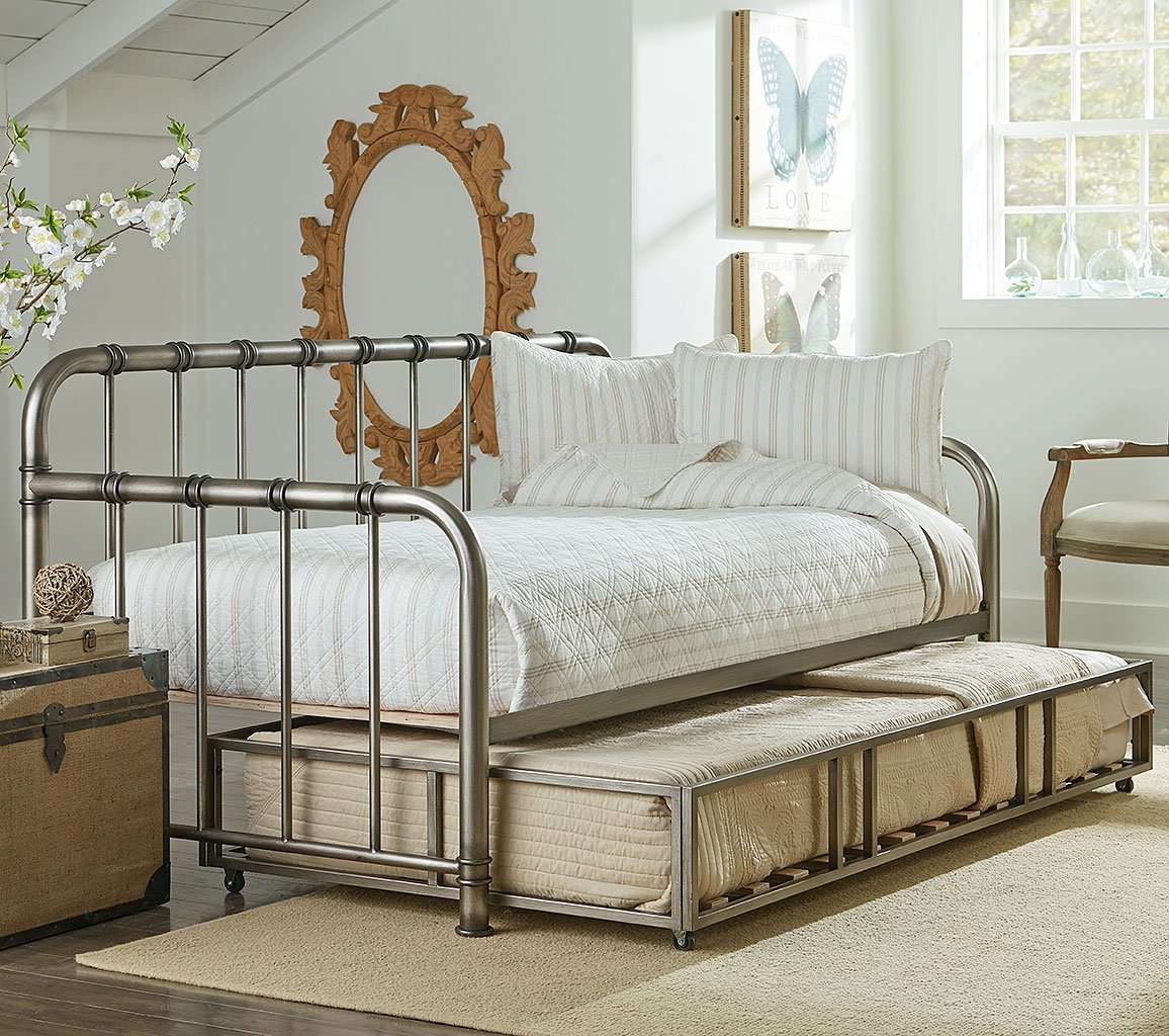 Tristen Metal Daybed Trundle Aged Pewter Standard