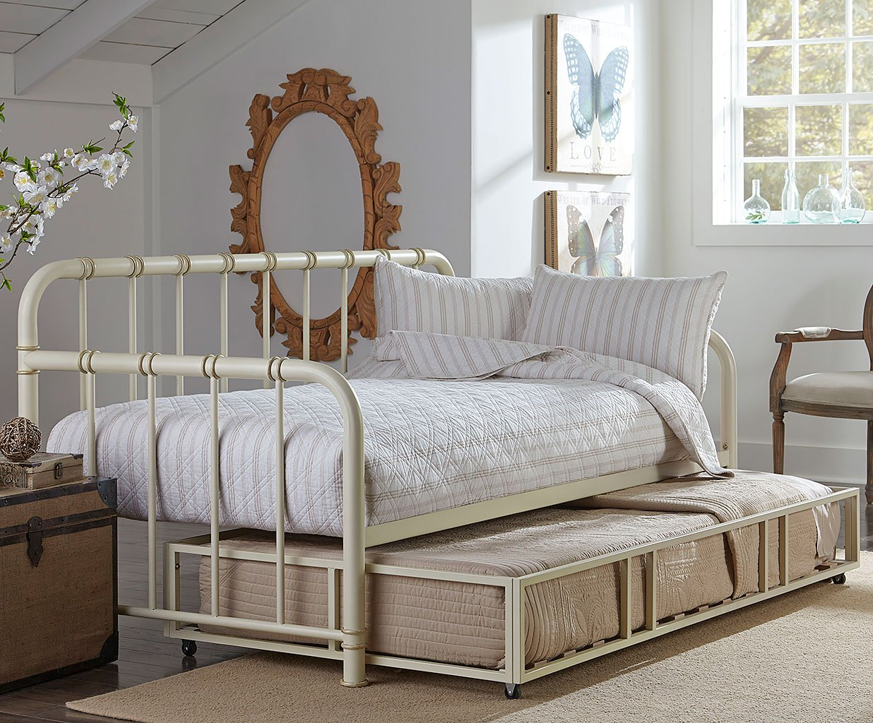 Tristen Metal Daybed W Trundle White Standard Furniture