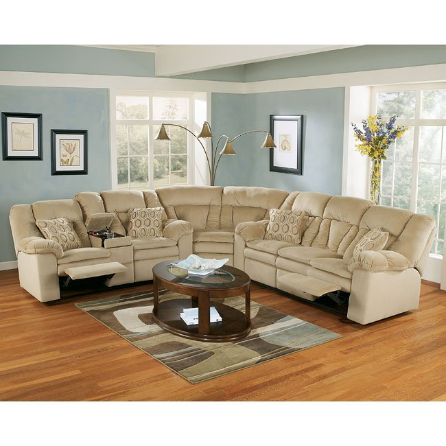 Avalanche - Sandstone Reclining Sectional Living Room Set